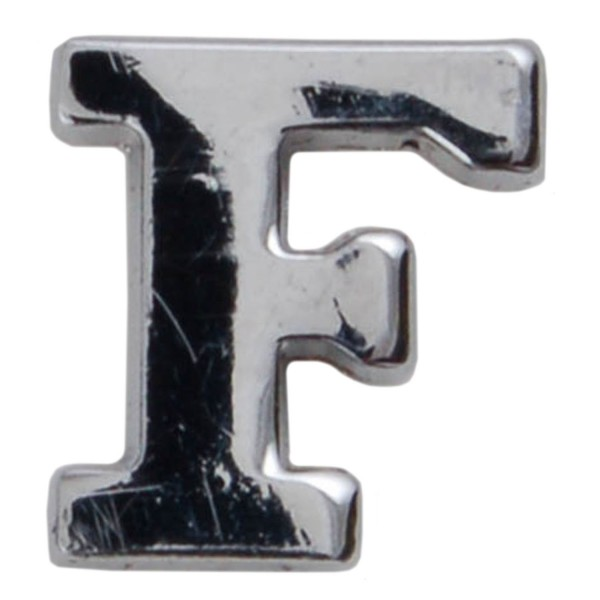 Silver Metallic Letter F With Clutch Pin