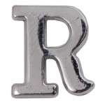 Silver Metallic Letter R With Clutch Pin