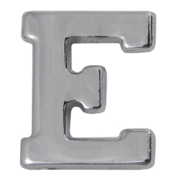 Silver Metallic Letter E With Clutch Pin