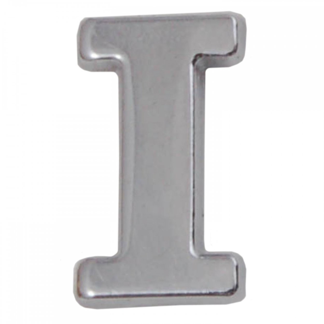 silver metallic letter i with clutch pin