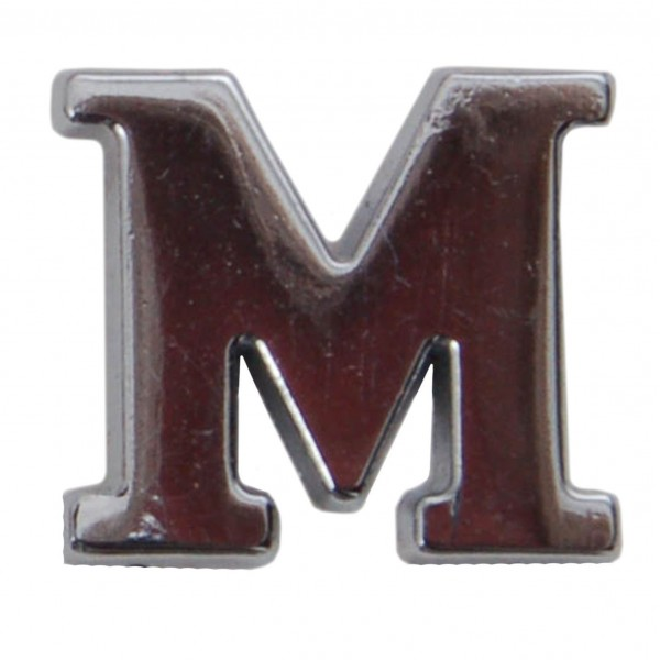 Silver Metallic Letter M With Clutch Pin