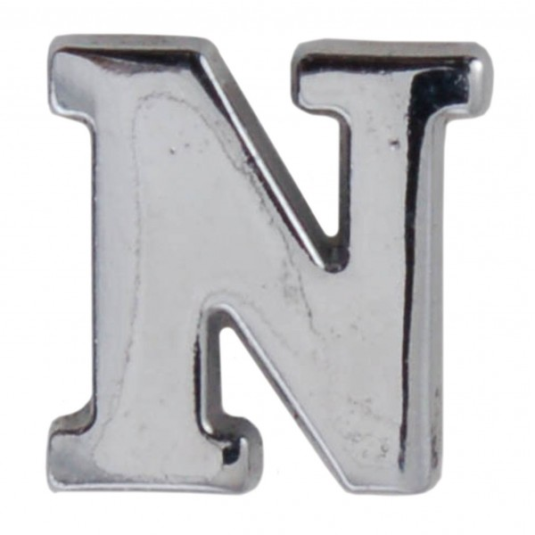 Silver Metallic Letter N With Clutch Pin