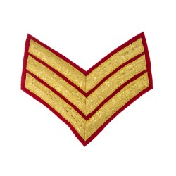 3 Bar Chevron Sergeant (Sgt) - Queens Royal Hussars - Service Stripe - British Army Badge