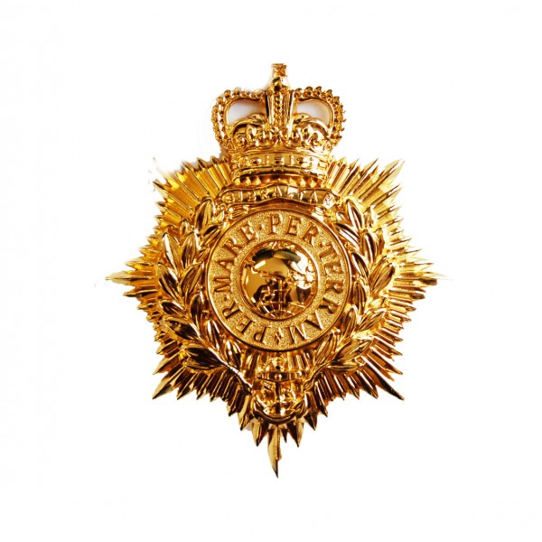 Royal Marine Band Service Helmet Brass Insignia Badge