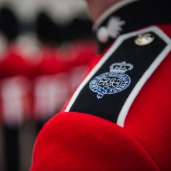 The Grenadier Guards wearing the ceremonial dress.
