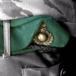 Royal Marines cap badge ready for wear on their formal dress.